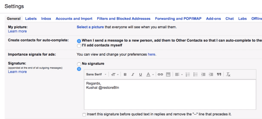 Enable Gmail Personal and Business Signature in Email